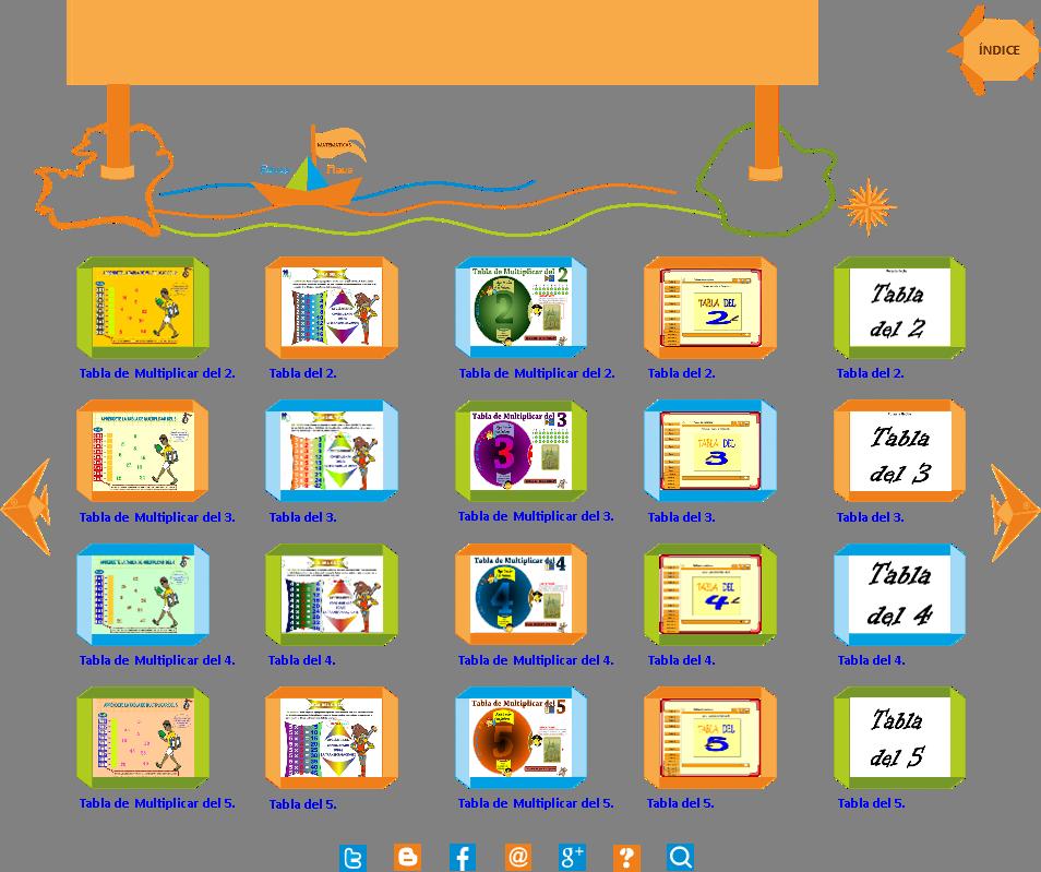 tablas de multiplicar del al para nios de educacin primaria educanave